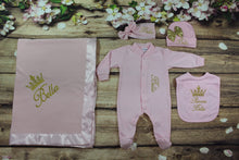 Load image into Gallery viewer, Pajama, Bib, Beanie, Headband, Blanket (Pink Set, Gold Thread, Crown)