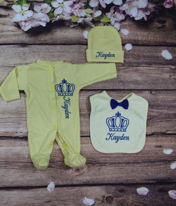 Pajama, Bib, Beanie (Yellow Set, Blue Thread, Crown)