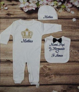 Pajama, Bib, Beanie (White Set, Gold and Royal Blue Thread, Crown)