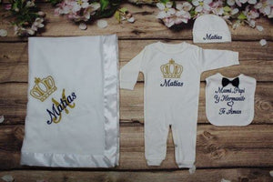 Pajama, Bib, Beanie, Blanket (White Set, Blue and Gold Thread, Crown)