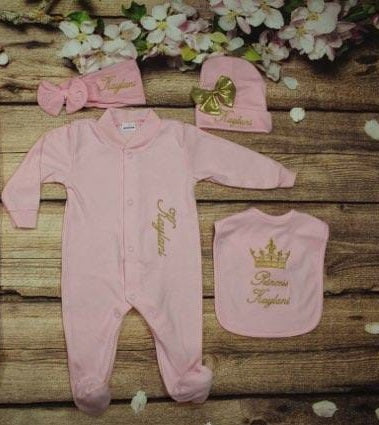 Pajama, Bib, Beanie, Headband, (Pink Set, Gold Thread, Crown)
