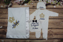 Load image into Gallery viewer, Pajama, Bib, Beanie, Blanket (White Set, Blue and Gold Thread, Crown)