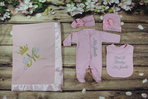 Coming Home Outfit with Headband and Blanket (Pink Set, Silver and Gold Thread, Crown)