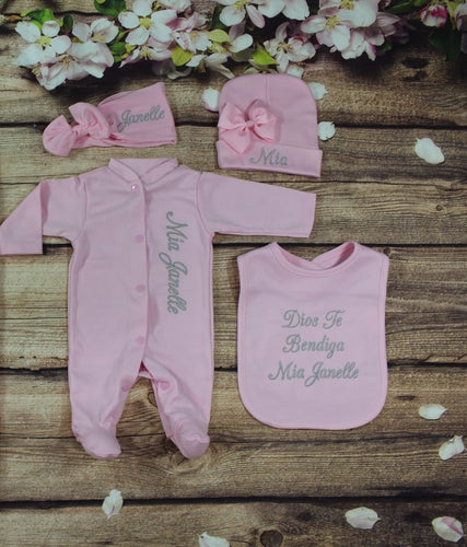 Pajama, Bib, Beanie, Headband, (Pink Set, Silver Thread)