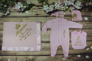 Pajama, Bib, Beanie, Headband, Blanket (Pink Set, Gold Thread, Crown1 and 2)