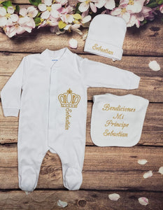 Pajama, Bib, Beanie (White Set, Gold Thread, Crown)