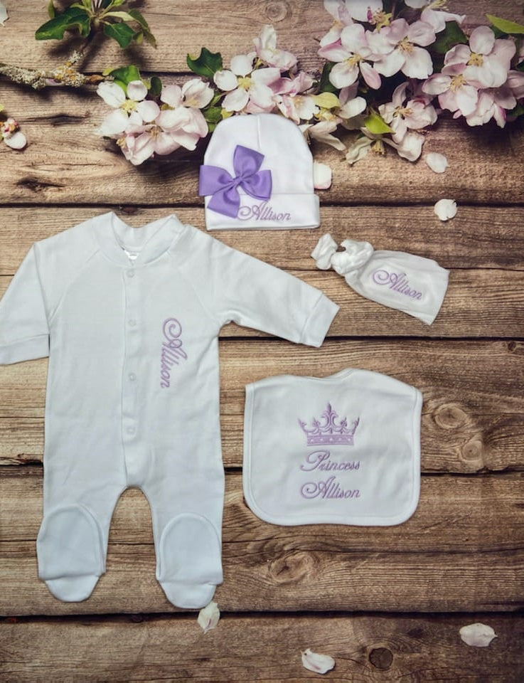 Pajama, Bib, Beanie, Headband, (White Set, Purple Thread, Crown)