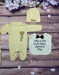 Pajama, Bib, Beanie (Yellow Set, Black Thread, Elephant)
