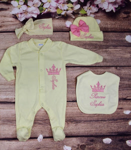 Pajama, Bib, Beanie, Headband, (Yellow Set, Pink Thread, Crown)