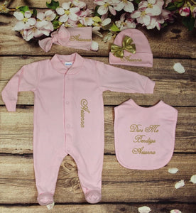 Pajama, Bib, Beanie, Headband, (Pink Set, Gold Thread)
