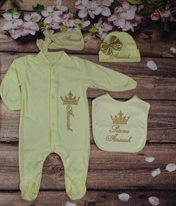 Pajama, Bib, Beanie, Headband, (Yellow Set, Gold Thread, Crown)