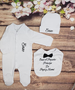 Pajama, Bib, Beanie (White Set, Black Thread)