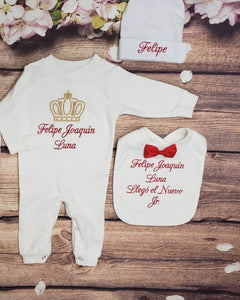 Pajama, Bib, Beanie (White Set, Burgandy and Gold Thread, Crown)