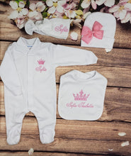 Load image into Gallery viewer, Pajama, Bib, Beanie, Headband, (White Set, Pink Thread, Crown)