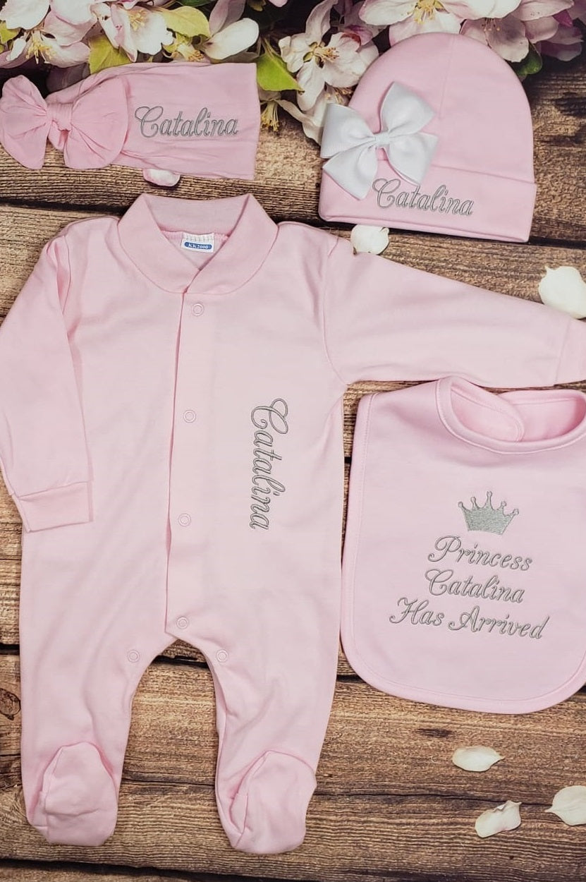 Pajama, Bib, Beanie, Headband, (Pink Set, Silver Thread, Crown)
