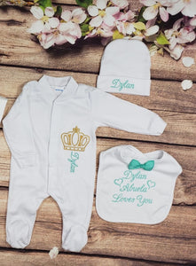 Pajama, Bib, Beanie (White Set, Mint and Gold Thread, Crown)