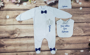 Pajama, Bib, Beanie (White Set, Blue and Silver Thread, Bows)