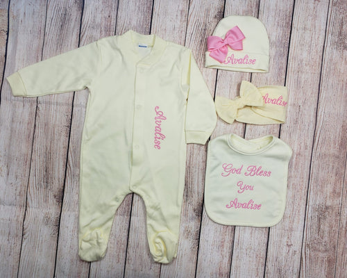 Pajama, Bib, Beanie, Headband, (Yellow Set, Pink Thread)