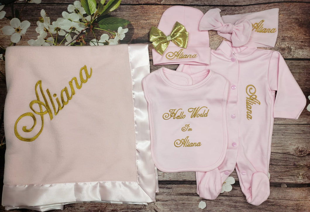 Pajama, Bib, Beanie, Headband, Blanket (Pink Set, Gold Thread)