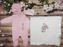 Load image into Gallery viewer, Pajama, Bib, Beanie, Headband, Blanket (Pink Set, White Blanket, Silver and Pink Thread)