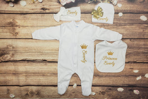 Pajama, Bib, Beanie, Headband, (White Set, Gold Thread, Crown)