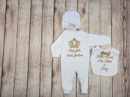 Onesie, Bib, Beanie, (White Set, Black and Gold Thread, Crown)
