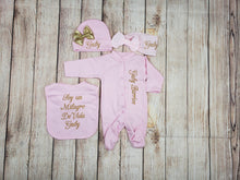 Load image into Gallery viewer, Pajama, Bib, Beanie, Headband, (Pink Set, Gold Thread)