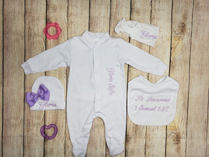 Pajama, Bib, Beanie, Headband, (White Set, Purple Thread)