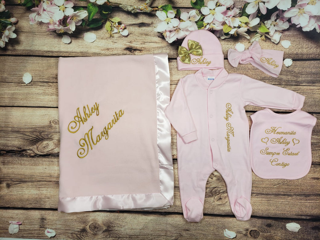 Coming Home Outfit with Headband and Blanket (Pink Set, Gold Thread, Heart)