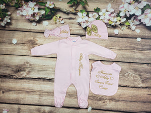 Pajama, Bib, Beanie, Headband, (Pink Set, Gold Thread, Heart)