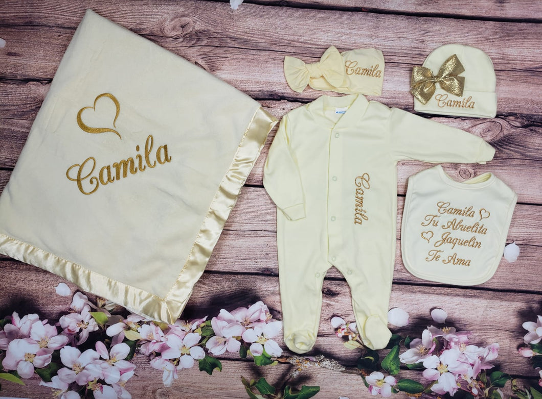 Pajama, Bib, Beanie, Headband, Blanket (Yellow Set, Gold Thread, Heart)