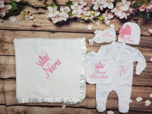 Load image into Gallery viewer, Pajama, Bib, Beanie, Headband, Blanket (White Set, Pink Thread, Crown)