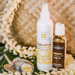 Shop online High quality Skin Pampering Lanikai Lotion, Coconut Oil and Solid Perfume Set in Lauhala Gift Bag - Lanikai Bath and Body