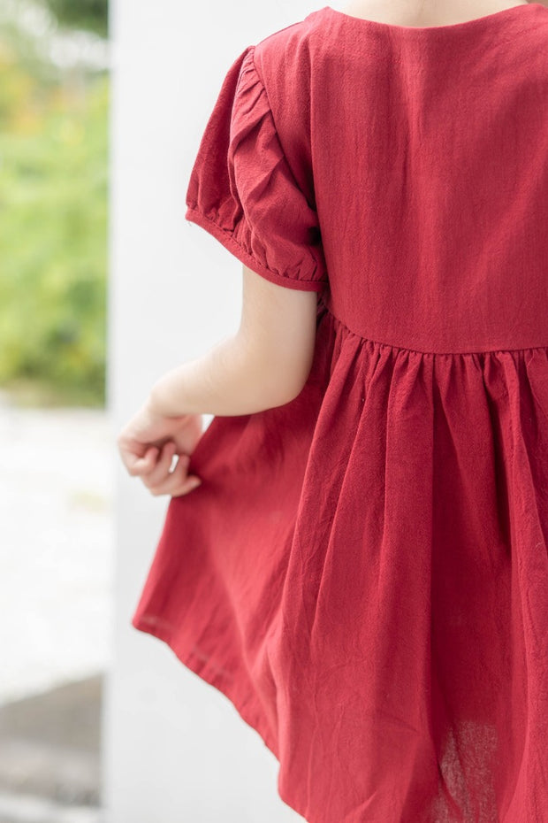 Buttoned Midi Dress in Red (In-Stock)
