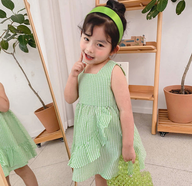 Ruffled Strap Dress in Green