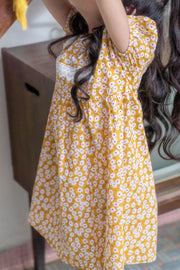 Vintage Floral Dress in Yellow (In-Stock)