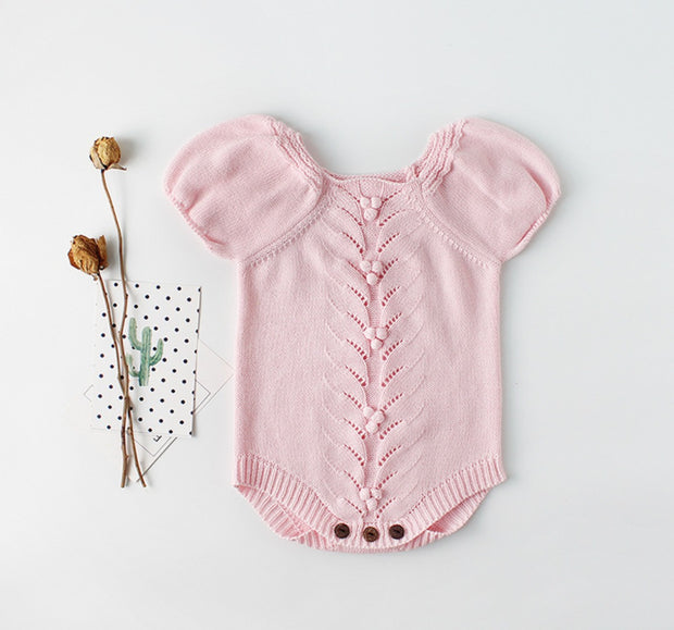 Cotton Puff Sleeves Romper in Pink