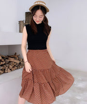 Matching Two-Piece Vest Top With Polka Dot Long Skirt
