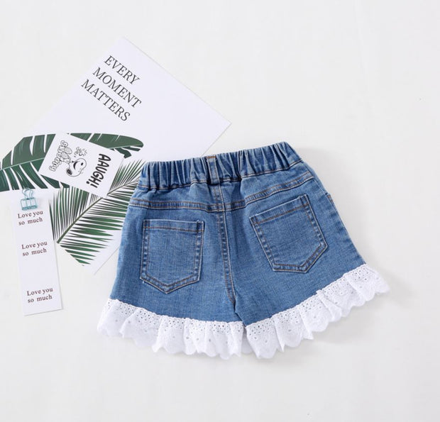 Floral Lace Denim Shorts in Dark Blue