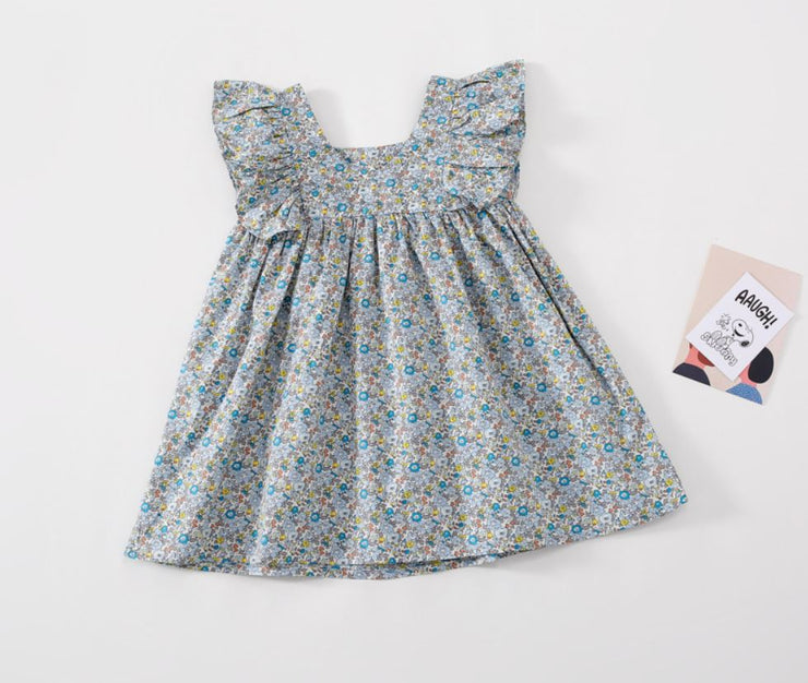 Floral Ruffled Dress in Blue