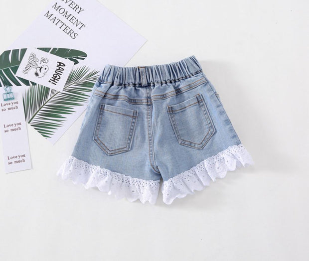 Floral Lace Denim Shorts in Light Blue