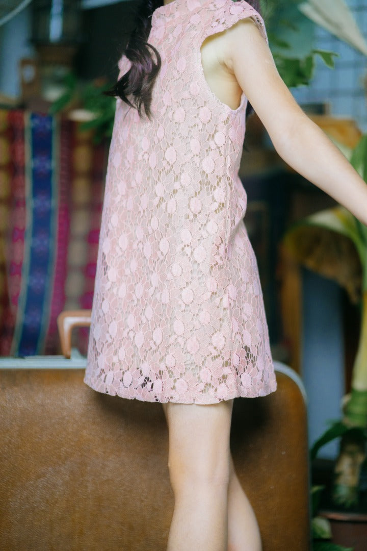 Floral Lace Cheongsam Dress in Pink (In-Stock)