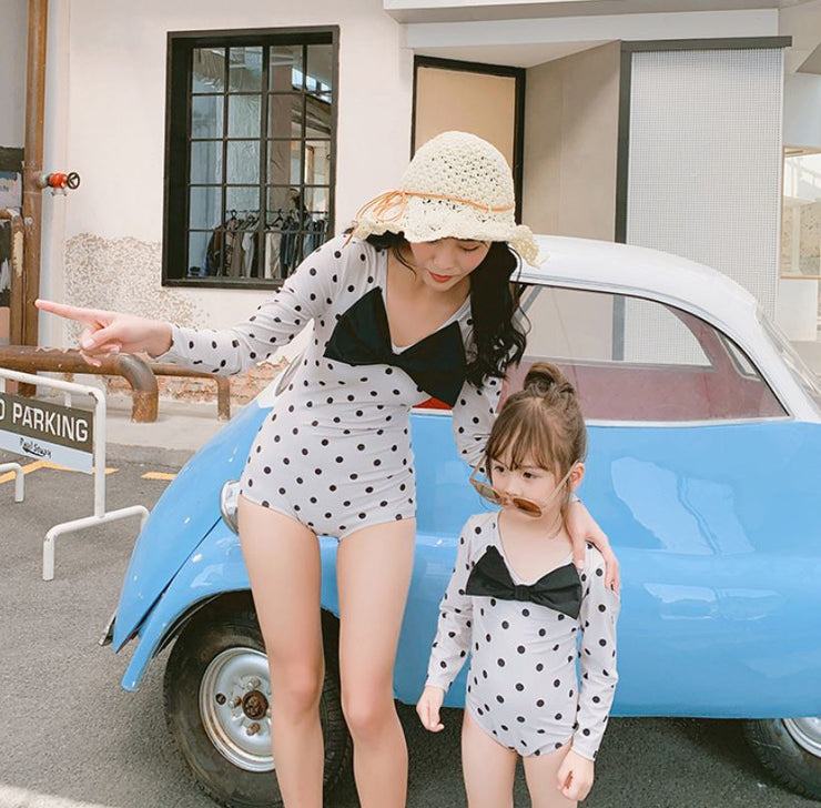 Matching Polka Dot One-Piece Swimsuit