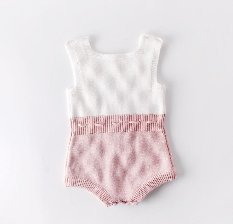 Fluffy Ball Cotton Romper in Pink & White