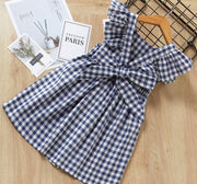 V Shaped Checkered Dress in Blue