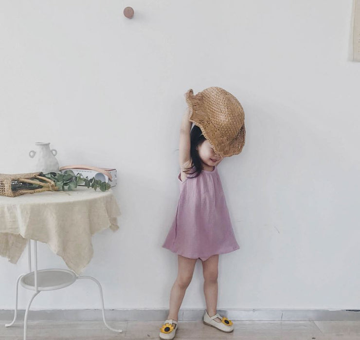 Macaron Linen Dress in Candy Pink