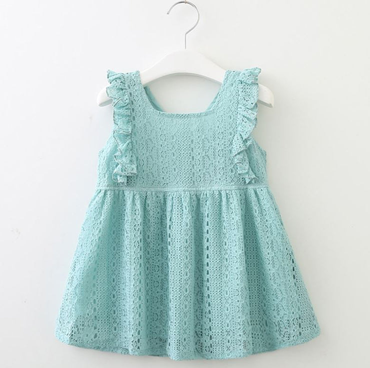 V Neck Floral Lace Dress in Cyan