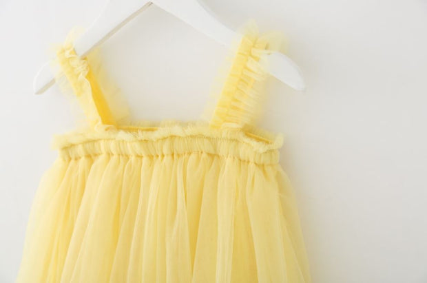 Tulle Ruffled Strap Dress in Yellow