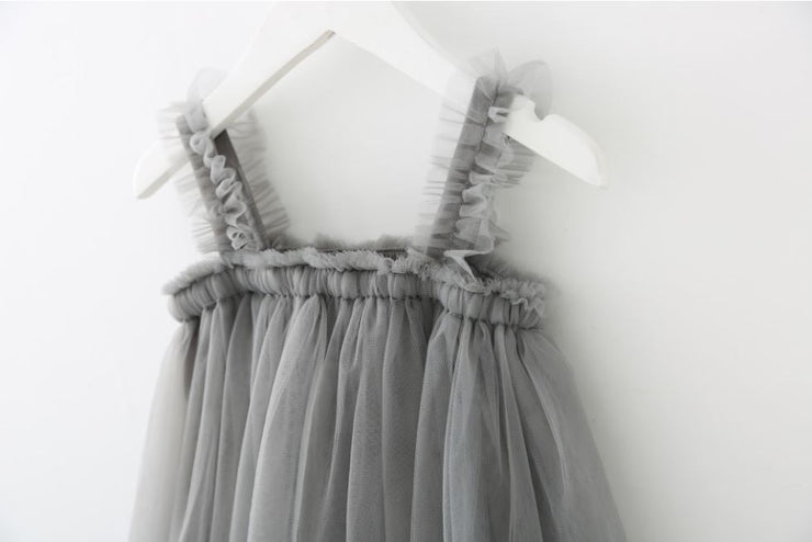 Tulle Ruffled Strap Dress in Grey