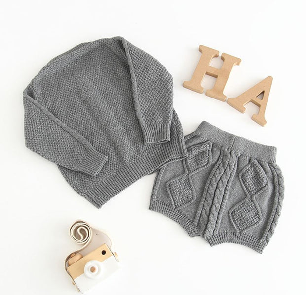 Two-Piece Knitted Cardigan with Pants